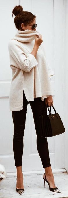 #fall #outfits / cream oversized knit