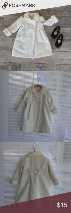 White faux fur children's dress coat White faux fur children's dress coat sizes 18M and 4T both coats only worn once. Jackets & Coats Pea Coats