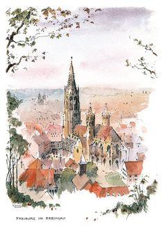 RM 162 - 'FREIBURG IM BREISGAU' - Mounted Print - £28.00 GBP (Free... - Richard Marsh Art