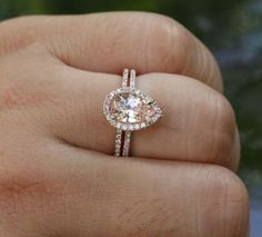14k Rose Gold 9x6mm Morganite Pear Engagement Ring and Diamond Wedding Band Set $739.00