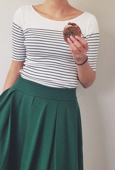 Emerald and Stripes. Simple and cute (especially that skirt). Add some great accessories and this could be A+