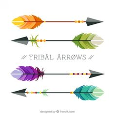 Colorful tribal arrows Free Vector