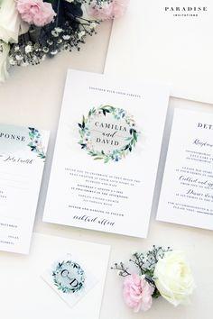 Camilia Floral Wreath Wedding Invitation Kit