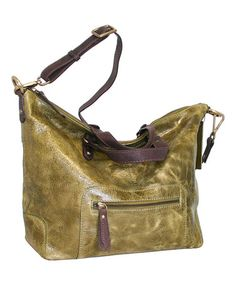 Look at this #zulilyfind! Green Kate Convertible Leather Tote by Nino Bossi Handbags #zulilyfinds