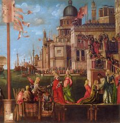 CARPACCIO, Vittore Meeting of the Betrothed Couple 1495 Tempera on canvas Gallerie dell'Accademia, Venice detail