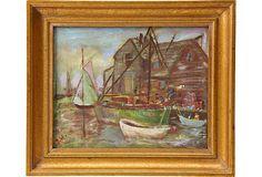 Oil Painting, Boatyard on OneKingsLane.com