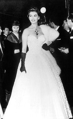 Sophia Loren on the Cannes red carpet, 1955.