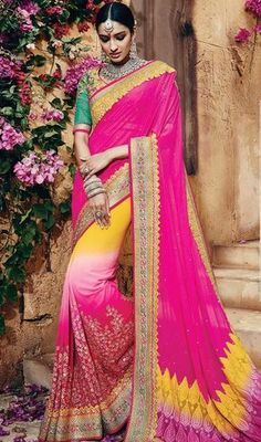 Reveal your onlookers eyes dressed in this pink and yellow color shade net georgette silk embroidered sari. The desirable lace, resham and stones work a considerable element of this attire. #embroidereddesignersari #ebroiderednetsaris #embroideredgeorgettesarees