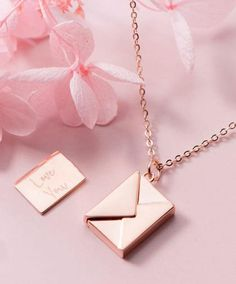 Rlose Gold Plated Love Letter Envelope Necklace