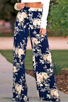 Details: Palazzo pants Vintage floral pattern Elastic high waist Loose Fit Hand wash cold Perfect for yoga and running Size Available: Flare Leg Pants, Wide Leg Pants, Pallazo Pants, Fashion Pants, Fashion Outfits, Flowy Pants, Blue Pants, Spring Summer, Couture