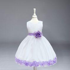 Rodilla-Longitud de la Alta Calidad al por menor Del Bebé Niña de las Flores Vestido de Pétalos de Rosa Alrededor de Partido de la Muchacha Vestidos de Princesa Vestido L104