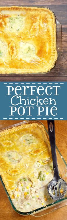 Homemade Chicken Pot Pie Casserole Recipe - A chicken dinner casserole baked in your oven. One of our family favorites! Learn how to make the PERFECT Chicken Pot Pie from start to finish! food recipe Share and Enjoy! Chicken Pot Pie Casserole, Best Chicken Pot Pie, Homemade Chicken Pot Pie, Perfect Chicken, Casserole Dishes, Chicken Recipes, Casserole Recipes, Chicken Soups, Homemade Pie