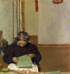 Madame Vuillard Cousant- Edouard Vuillard - WikiPaintings.org