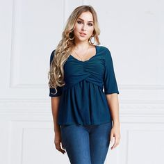 fa4c4fd8793 Sexy Women Plus Size V-Neck Blouses. Plus Size T ShirtsHalf SleevesSize  ClothingV ...