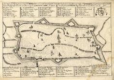 Plattegrond van de stad Utrecht met weergave van het stratenplan, wegen en watergangen en de belangrijkste kerken en kloosters in opstand. Met boven een Nederlandstalige en onder een Franstalige lijst van de belangrijkste kerken, kloosters en poorten. 1672
