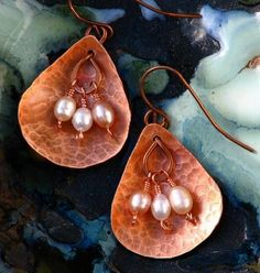 Torched Copper Teardrops and Pearls Earrings