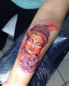 Watercolor buddha sleeve tattoo