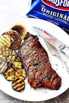 Jack Daniel's Grilled Steak Recipe - New York Strip Steaks marinated in one of the most delicious marinades made with Jack Daniel's Whiskey and Soy Sauce. Our favorite steak house meal made at home! Steak Marinade Recipes, Grilled Steak Recipes, Marinated Steak, Grilled Meat, Grilling Recipes, Beef Recipes, Cooking Recipes, Grilled Steaks, Beef Steaks