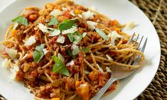 Lots of veggies and lentils make this a healthier version of the much-loved family favourite. Balanced Meal Plan, Healthy Balanced Diet, Healthy Eating, Vegetarian Spaghetti, Zucchini Spaghetti, Vegetarian Dinners, Roasted Mediterranean Vegetables, Recipe Finder, Spaghetti Bolognese