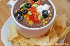 """10-Minute Easy Black Bean Soup ~ """"Or so she says..."""" blog.  Canned beans, corn, broth, salsa and a blender."""
