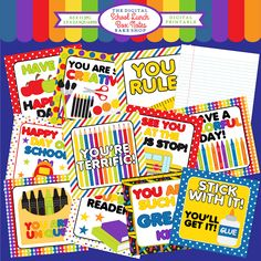 School Lunch Box Notes Printable - adorable notes for encouraging the young students in your life.
