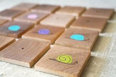 Memory Game Snails Color Match Wooden Children's Game Rainbow Natural Wood Toy Waldorf on Etsy, $35.00