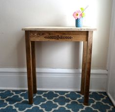 The Allison  Ivory Pine Side Table with Flower by TheMooseDuck, $120.00
