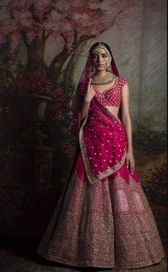 Bridal Lehenga Designs - Latest Trends in Lehengas Indian Bridal Outfits, Indian Bridal Lehenga, Indian Bridal Wear, Bridal Dresses, Sabyasachi Lehenga Bridal, Sabhyasachi Lehenga, Pink Bridal Lehenga, Wedding Lehnga, Bride Indian