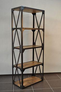 Etagère industrielle structure acier et bois                                                                                                                                                                                 Plus