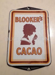 Emaille reclamebord: Blookers cacao deurpost