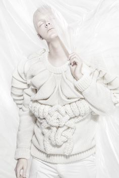 Sculptural Fashion - sweater with white textures; 3D knitwear; wearable art // Chris Ran Lin