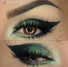 Love this Green look! Not an everyday but something to spice it up with #Motives gel liner Little Black Dress, Motives Pressed Eye Shadows in Forbidden, Green Apple and Vanilla. Then add some Motives Glitter Pots in the corners. All at www.motivescosmetics.com/bunky16