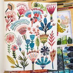 Painting florals in the summer sun #sowaopenmarket #watercolorpainting #watercolorsketch #sketchbook #artlicensing #licensing #surfacedesign #surfacedesigner #patterndesigner #floral #plantlady #abmplantlady #illustrationoftheday #illustratorsoninstagram