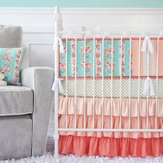 Lovely Coral Lace Baby Bedding