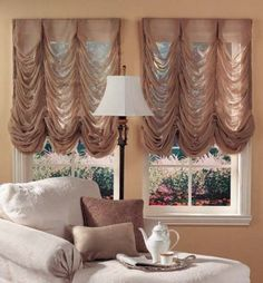 Give your interior a luxurious look by using French curtains. How to introduce French curtains in various styles. Types of French curtains. Balloon Curtains, Ikea Curtains, Burlap Curtains, Curtains Living, Blue Curtains, Colorful Curtains, Window Curtains, Patterned Curtains, Layered Curtains