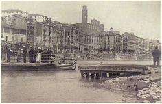 Passarel·la a la banqueta de Blondel de Lleida pels aiguats de 1907. Foto de l'arxiu Gómez-Vidal