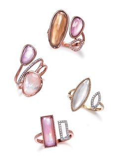 precious stone + diamond rings