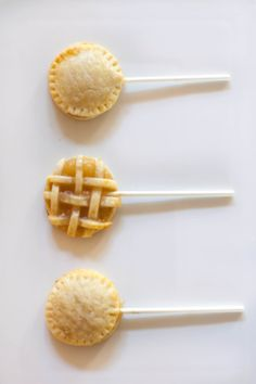 Apple pie pops: http://www.stylemepretty.com/living/2015/05/21/26-foods-even-more-fun-on-a-stick/