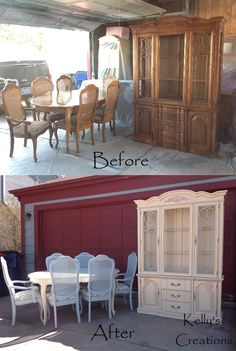 French Provincial dining set (table, chairs, armchairs and china hutch) painted cream and pale blue with dark walnut antiquing before and after pictures. Refurbished Furniture, Upcycled Furniture, Dining Room Furniture, Dining Room Table, Furniture Making, Furniture Makeover, Painted Furniture, Diy Furniture, Dining Set