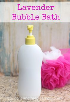 Homemade Lavendar Homemade Bubble Bath with only 4 simple ingredients! Stop wasting money on expensive bubble bath! DIY Easy Homemade Bubble Bath Recipe! We made lavendar, but choose your own favorite scent! Great for kids! You'll wonder why you never made this before! All natural & skin-softening! Smells wonderful... it's the perfect homemade gift idea. Check out this simple recipe right now!