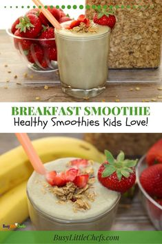 Healthy Snacks For Kids The Breakfast Smoothie is a kid approved favorite. It's loaded with healthy ingredients, and protein for a great energy boost to start their day. Try this recipe for breakfast, or a snack. Smoothie Recipes For Kids, Protein Smoothie Recipes, Breakfast Smoothie Recipes, Smoothies For Kids, Healthy Snacks For Kids, Healthy Recipes, Smoothie Prep, Health Breakfast, Healthy Tips