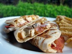 Chicken Bacon Ranch Quesadilla (using Perdue Short Cuts chicken strips, bought pre-cooked bacon for a quick dinner)