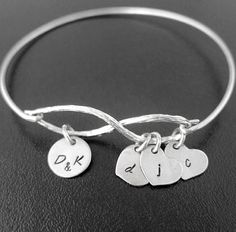 Personalized Mom Bracelet Christmas Gift for Mom by FrostedWillow, $37.95