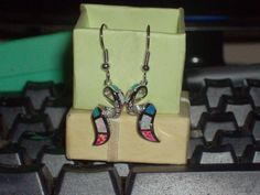 LOOK!!!! A GORGEOUS PAIR OF STERLING SILVER PINK, WHITE, AND BLUE FIRE OPAL AND AAAAA CZ EARRINGS