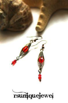 Wire Wrapped Red Earrings Drop Earrings Dangle by rsuniquejewel Red Earrings, Wire Wrapping, Dangles, Victorian, Jewelry, Fashion, Jewlery, Moda, Jewels