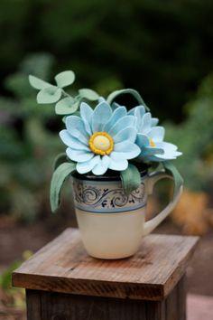 Baby Blue Felt Flower Bouquet by TheFeltFlorist on Etsy Felt Flower Bouquet, Felt Flowers, Diy Flowers, Fabric Flowers, Paper Flowers, Felt Diy, Felt Crafts, Fleurs Diy, Fuzzy Felt
