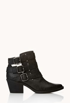 Biker-Chic Cutout Booties | FOREVER 21 - 2000128440