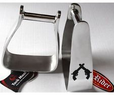 Western Horse Sloped Angled Slanted Saddle Stirrups Cross Gun Aluminum Tack 5134
