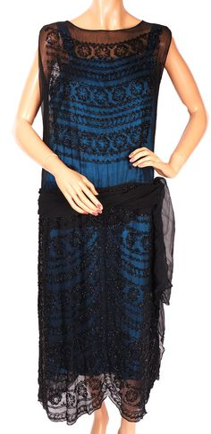 1920s Flapper Vintage Dress Beaded Black Silk Chiffon Size M