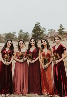 LuxeVelvetbridesmaidsdressesby JennyYoo! These stunninggowns inthis rustic shade called English Rose is the perfect autumn / fall bridal party look. The long Ellis dress is a soft A linesilhouttewith a chic plunging V neck in our luxurious, comf Velvet Bridesmaid Dresses, Mismatched Bridesmaid Dresses, Wedding Dresses, Velvet Dresses, Autumn Bridesmaid Dresses, Fall Wedding Gowns, Fall Wedding Bridesmaids, Fall Wedding Tuxedos, Bohemian Bridesmaid